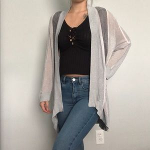 ⭐️4/$25 Chico's grey/silver long sleeve cardigan L